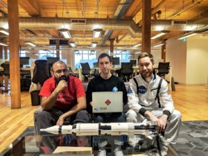 The space2vec team applied advanced machine learning techniques to tackle problems in astronomy (L-R: Jinnah Ali-Clarke, Pippin Lee & Cole Clifford)