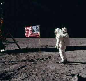 Buzz Aldrin salutes the first American flag erected on the Moon, July 21, 1969 (photo by Neil Armstrong)