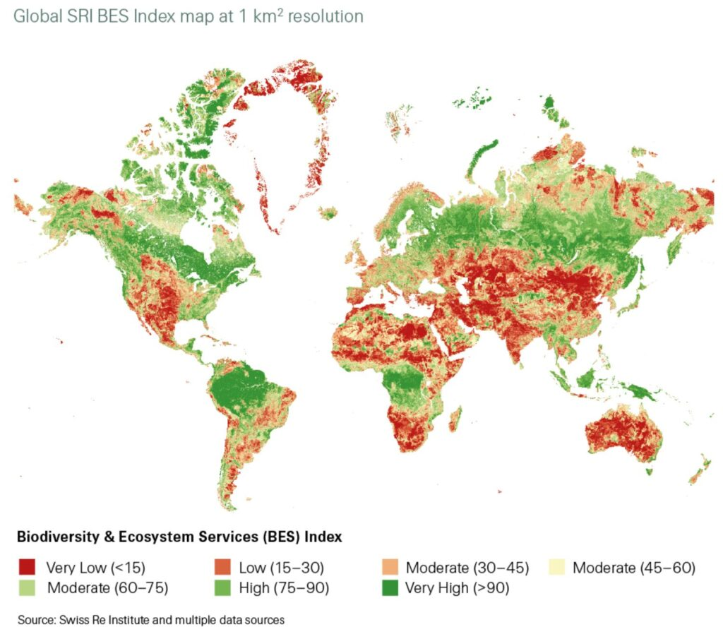 "Swiss Re ""Biodiversity and Ecosystem Services"" report 2020 Fig. 1"